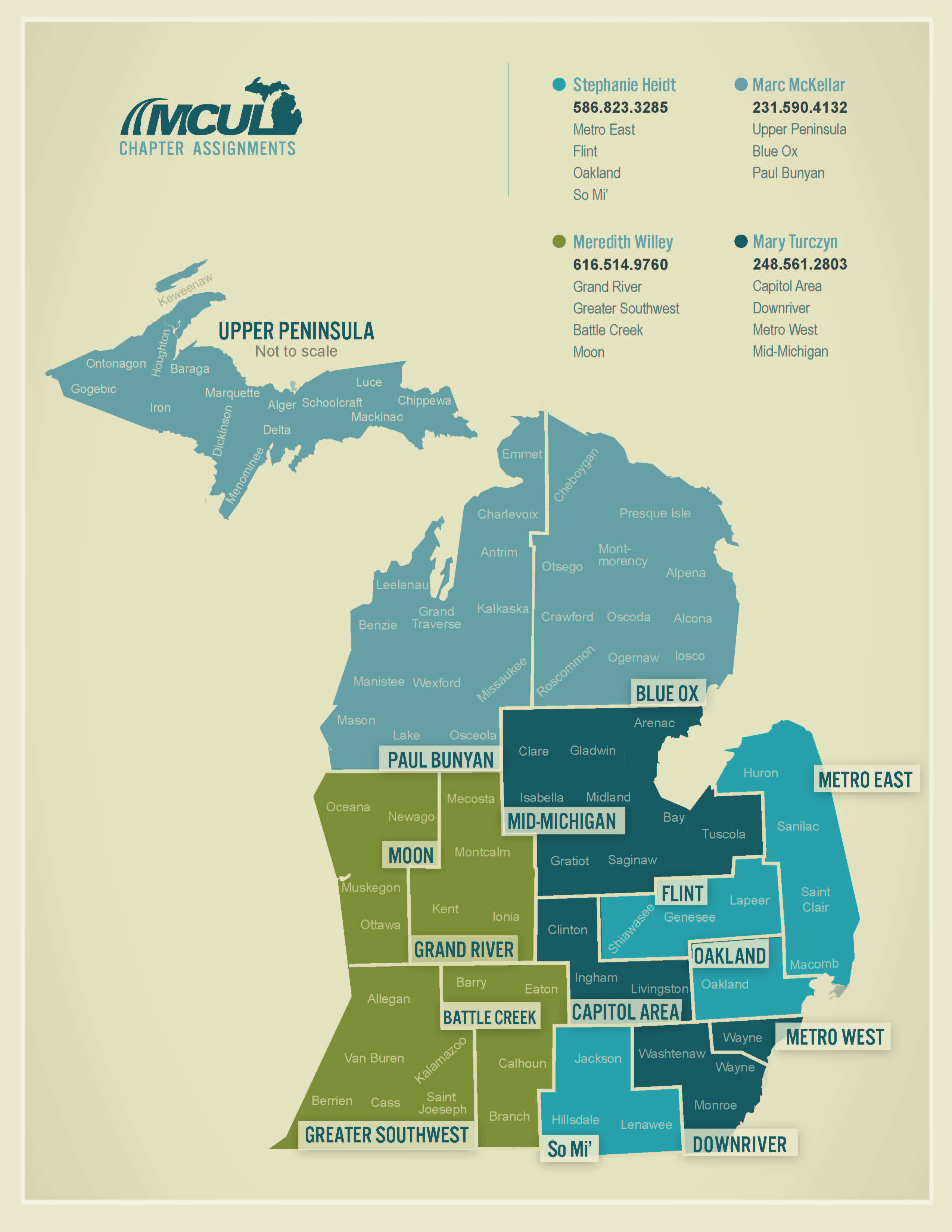 Michigan Credit Union League Chapter Map with Chapter Assignments