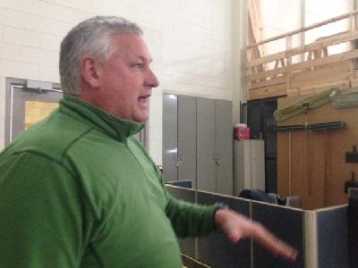 Jim Lynch, assistant dean at LCC's West Campus gives a tour of the construction lab