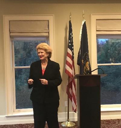 Senator Debbie Stabenow speaking to Michigan CU advocates at Credit Union House during the 2019 MCUL Hike the Hill.